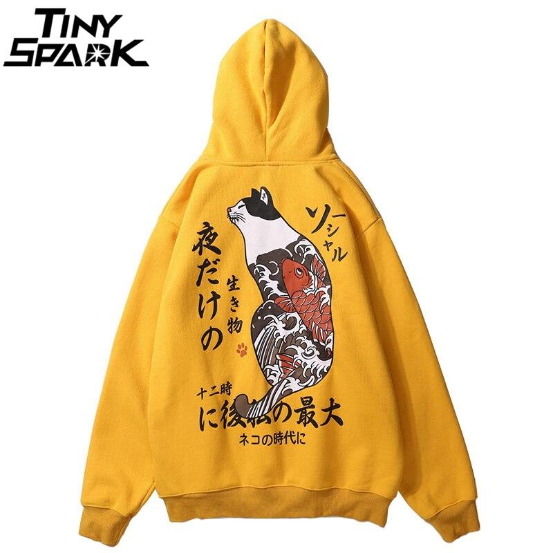 Harajuku Мужская толстовка японский укийо E Cat печати хип хоп толстовки уличная флисовый пуловер с капюшоном хлопок осень 2018 г.