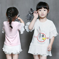 New Brand Summer Girls Clothes Fashion Cartoon Lotus Sleeve Stitching Girls Shirts Korean Children Clothing Long Toddler Tops