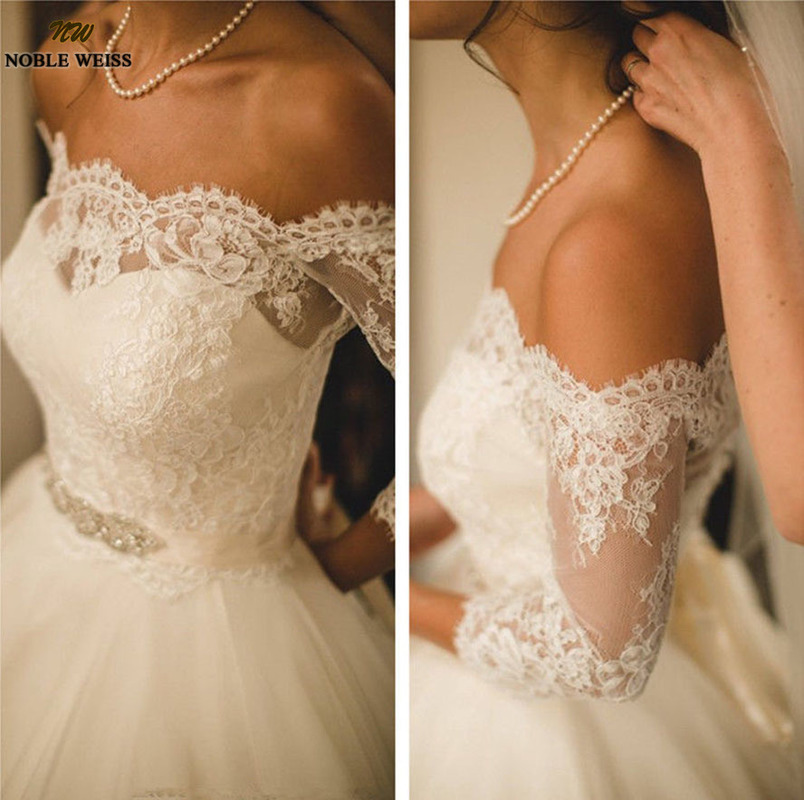 2019 Handmade New Lace Wedding Boleros Bridal Jackets Top 3/4 Sleeve White/Ivory Off Shoulder Accessories Jacket