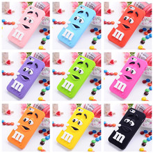 3D M&M Chocolate Case Cover For Coque iPhone 5C 4 6 6s 7 7plus Case Silicone Carcasa Funda For iPhone 5C Capinha phone bag case