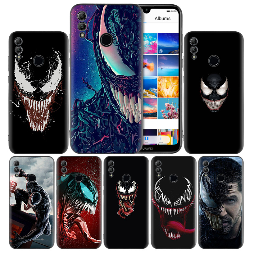Venom <font><b>Marvel</b></font> Black Silicone <font><b>Case</b></font> Cover for <font><b>Huawei</b></font> Honor 8X 8C 8A 8S 10 10i Lite Play V20 Y9 <font><b>Y7</b></font> Y6 Y5 Prime 2018 <font><b>2019</b></font> image