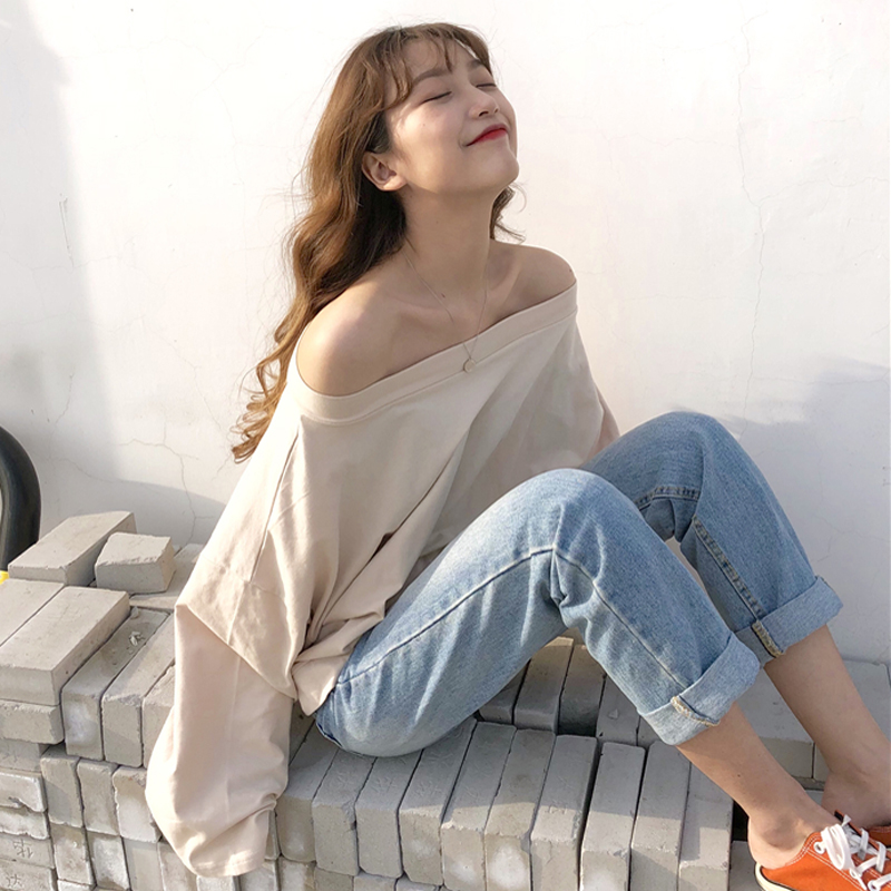 Mihoshop Ulzzang Korean Korea Women Fashion Clothing Summer Casual Preppy All match Boat Neck T shirt Tops Chic
