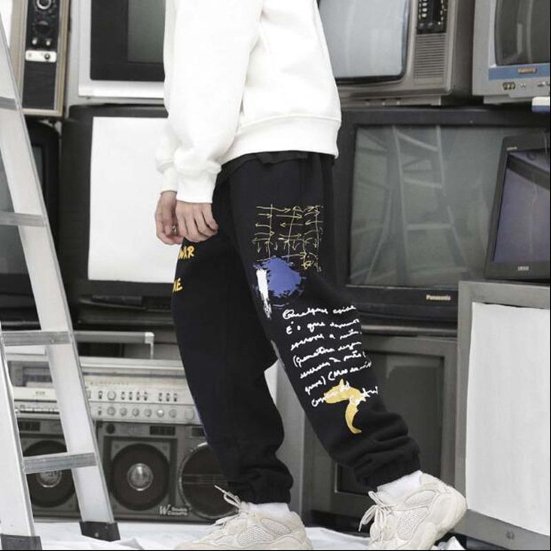 Noir Hommes Mode gris 2018 De Joggeurs Harajuku Harem Hip Graffiti Mâle Hop Jogger Streetwear Pantalon Survêtement Causalité Heyguys xqOHagXO