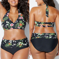 Pacento 6 Styles Print Flower Swimsuit Women Plus Size XXL High Waist Two Pieces Swimwear 5xl Big Size Bikini 2018 XXXL XXXL 5XL