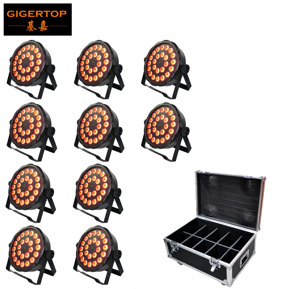 Gigertop 10IN1 Flightcase Pack 24 X 3W Flat Stage Led Par Light RGB 3IN1 Color Mixing 100W Power Slim Housing DMX 7 Channel