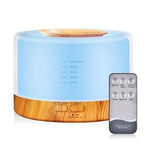 Image 1 - 500 مللي الروائح معطر الهواء المرطب مع LED ضوء الليل لغرفة المنزل بالموجات فوق الصوتية كول ميست زيت عطري الناشر