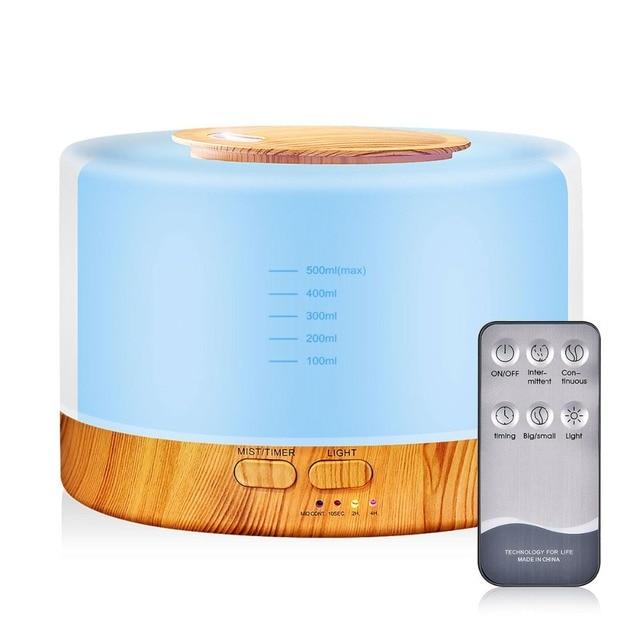 500 مللي الروائح معطر الهواء المرطب مع LED ضوء الليل لغرفة المنزل بالموجات فوق الصوتية كول ميست زيت عطري الناشر