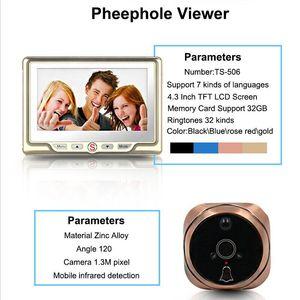 Image 2 - Saful 4.3Door Viewer Peephole Camera with PIR Motion Detect and IR Night Vision Video Camera Eye Doorbell Mini camera