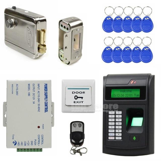 DIYSECUR 125KHz RFID LCD Biometric Fingerprint Password Keypad ID Card Reader Access Control System Kit + Electric Lock