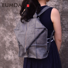EUMOAN Brand original genuine leather backpack female travel backpack large patchwork the first layer of leather shoulder bag aetoo new retro joker first layer leather shoulder bag female fashion rivet leather backpack female bag