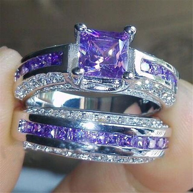 Princess Luxury 925 Sterling Silver Purple Crystal Cz Gemstones Wedding Set Rings