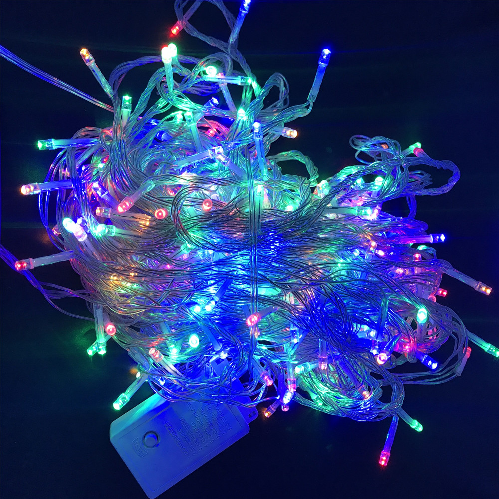 100M 600 LED Christmas Led String Light Outdoor Waterproof 220V Fairy String Garland 9 Color For Garden Wedding Party color block panel pouch design string t back