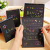 Scratch Paper DIY Painting Art Doodle Pad Children Educational Toys Drawing for Children Fun Kids Colorful Black with Wood Stick discount