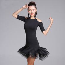 New Modern Black Sexy Cutout Gauze Latin Dance one-piece dress for women/female, Ballroom Tango Cha Cha Rumba Costumes MD7112