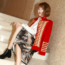 Abrigo militar Vintage para mujer, chaqueta de mezcla de lana con doble botonadura, prendas de vestir Slim Fit rojo dorado D9