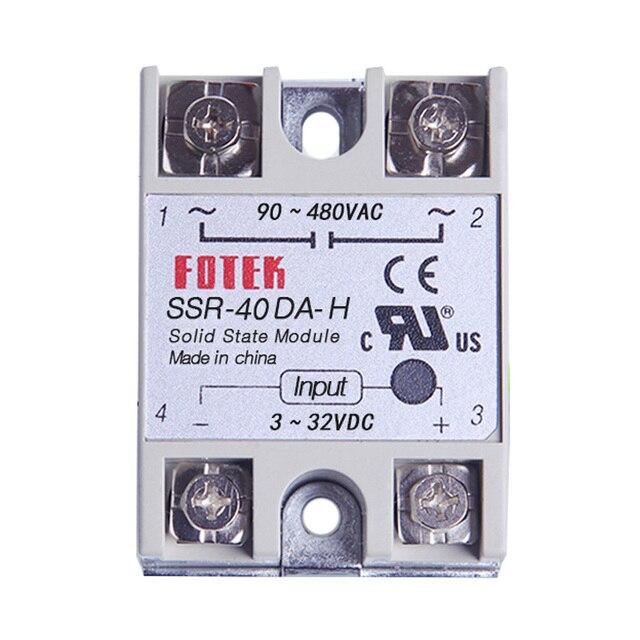 fotek resistance regulator solid state relay ssr-40da-h 40a 3-32v dc to  90-480v ac