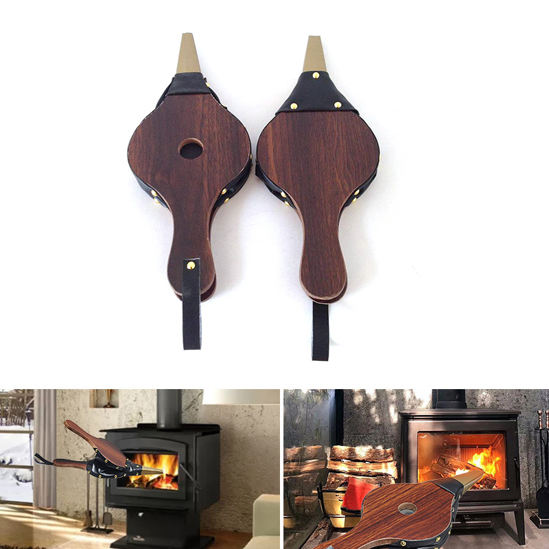 Vintage Wooden Mini Fireplace Blower Dark Brown Hand Bellows Blower Traditional Stove Fire Igniter Fan Home Fireplace Accessory
