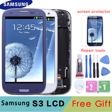 I9300 LCD עבור סמסונג גלקסי S3 i9300i תצוגת מסך עם החלפת מסגרת עבור SAMSUNG Galaxy S3 LCD i9301 i9308i i9301i