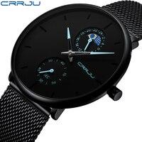 Relojes hombre 2019 novo crrju masculino relógios de luxo marca completa aço negócio relógio de quartzo das mulheres dos esportes à prova dwaterproof água|Relógios de quartzo| |  -