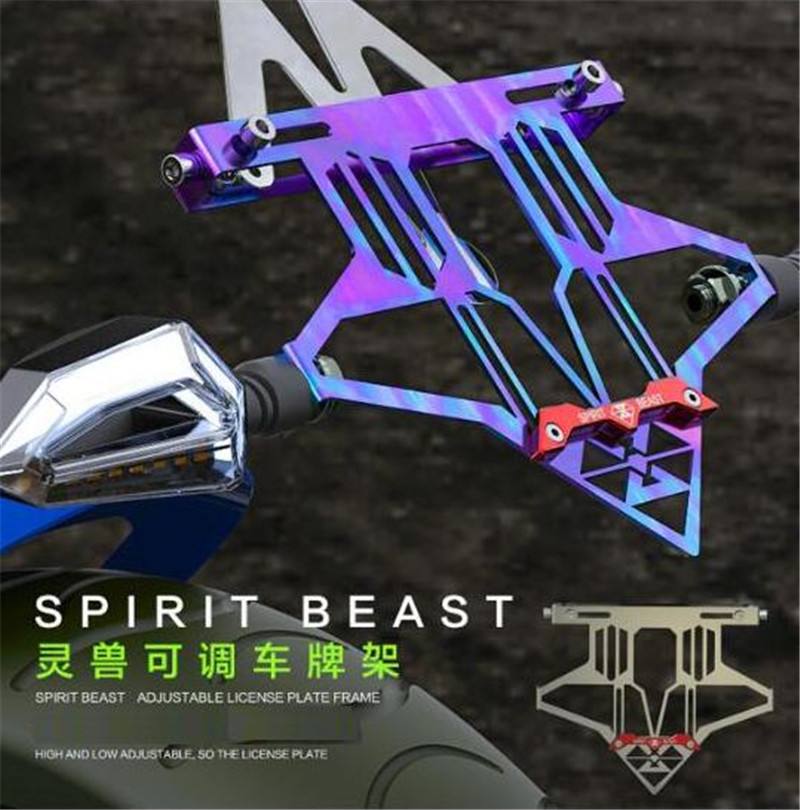 SPIRIT BEAST Adjustable Mount Bracket Accessory Stainless Steel License Plate Bracket Motocross Motorcycle Accessories spirit beast motorcycle fender modified front front fender stainless steel durable motocross accessories creative free shipping