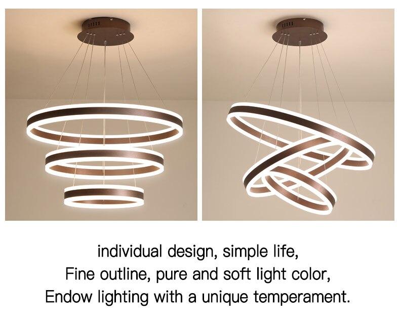 Nordique salon LED lustre moderne lustre personnalité créative circulaire salle à manger chambre villa grand lustre acrylique