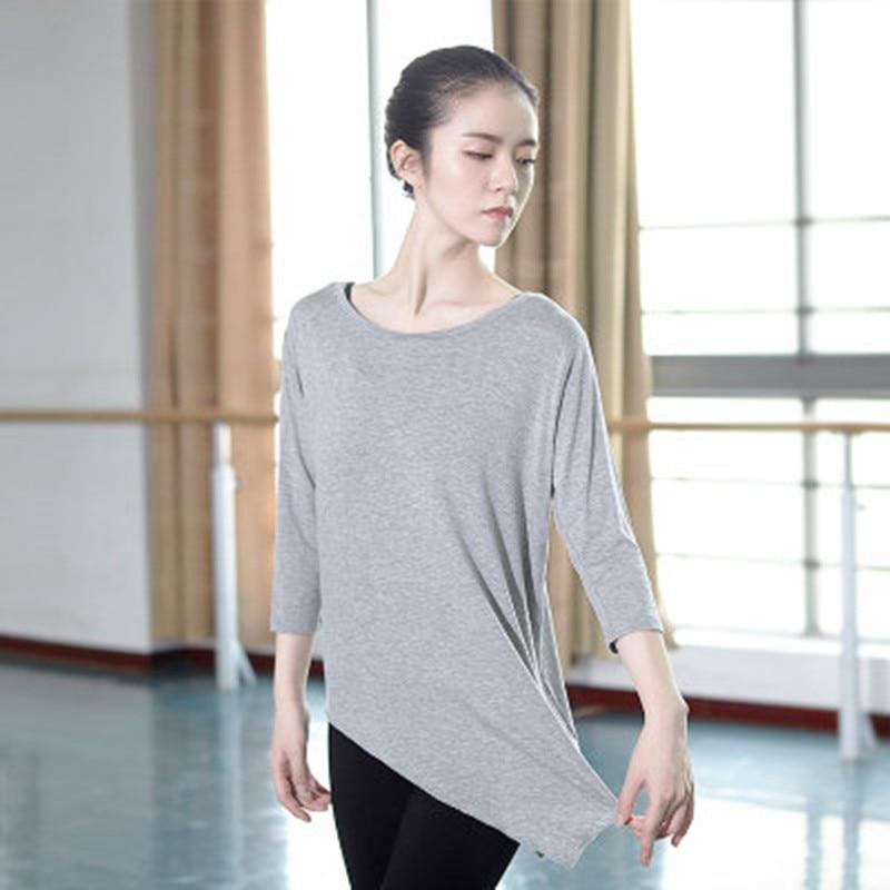 Summer Modal Long Sleeve Modern Dance T Shirt Professional Ballet Dance Tops For Women Ballroom Ballet Yoga Tango Dance Wear
