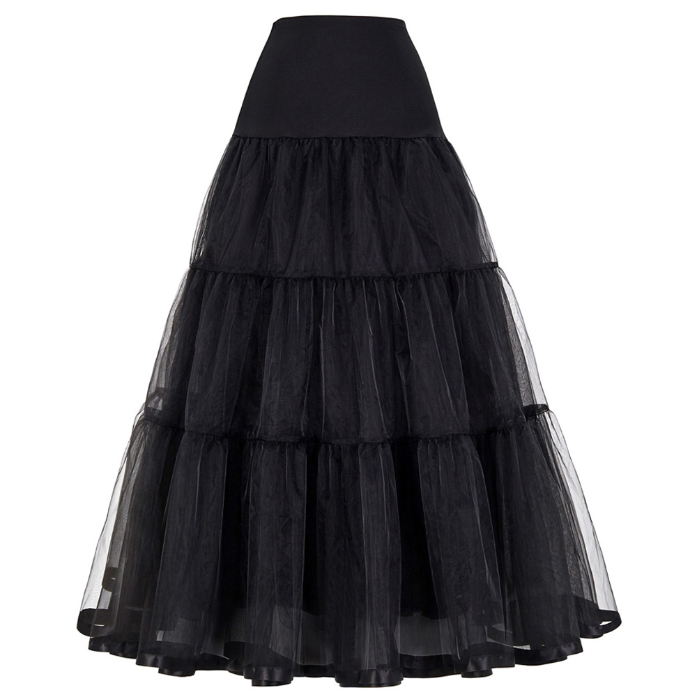 Grace Karin Long Petticoat Vintage Petticoats Ruffled Swing Pin Up White Rockabilly Petticoat Retro Black Crinoline