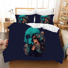Beauty Skull 3d Cartoon Bedding Set Duvet Covers Pillowcases Bed Set Single Double Comforter Bedding Sets Bedclothes Bed Linen