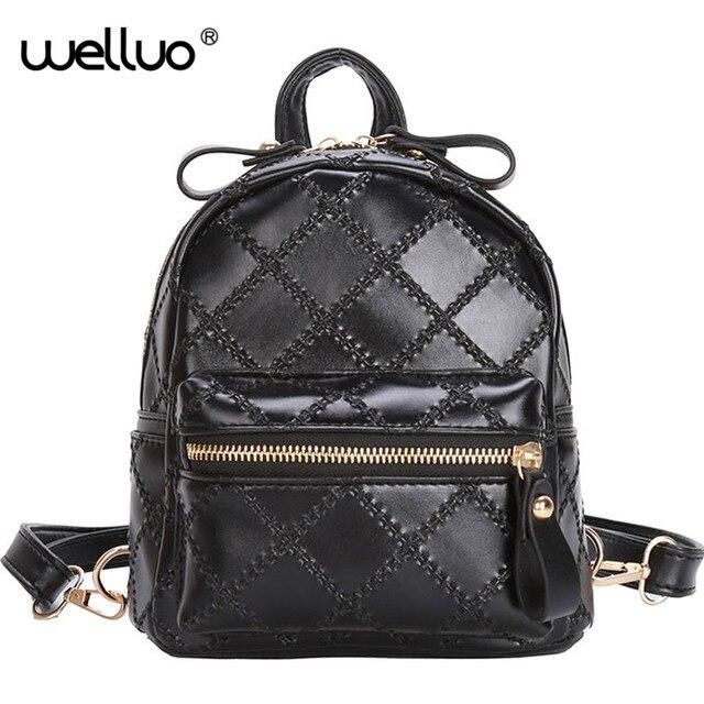 Backpack Women Mini Plaid PU Leather Zipper Backpacks Female Girls Casual  Travel Shoulder School Bags mochila 90102639cd995