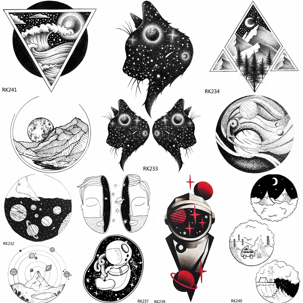 OMMGO Galaxy Cat Planets Universe Temporary Tattoos Sticker Geometric Triangle Mountain Custom Kids Tattoos Art Fake Black Star