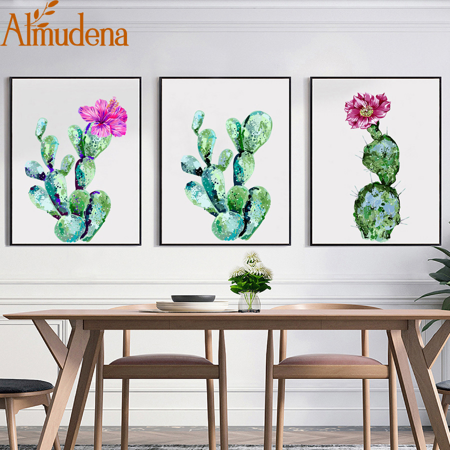 Almudena Watercolor Cactus Canvas Art Print Painting And
