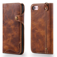 Flip Genuine Leather Wallet Phone Case Cover For IPhone 7 IPhone7 Plus 7Plus Vintage Coque Capinha