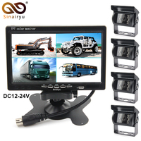 Sinairyu Backup Camera Wired 7 Inch Split Quad Monitor and Camera Kit For Truck/Semi Trailer/Box Truck/RVTrailer/Bus/Tractor