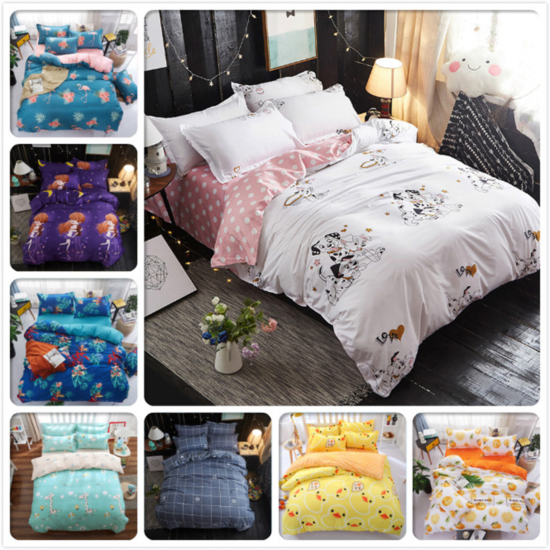 Cartoon Dog Cat Child 4pcs Bedding Set Full King Queen Twin Single Size Bed Sheet 1.5m 1.8m 2m Duvet Cover Pillowcase Bedclothes