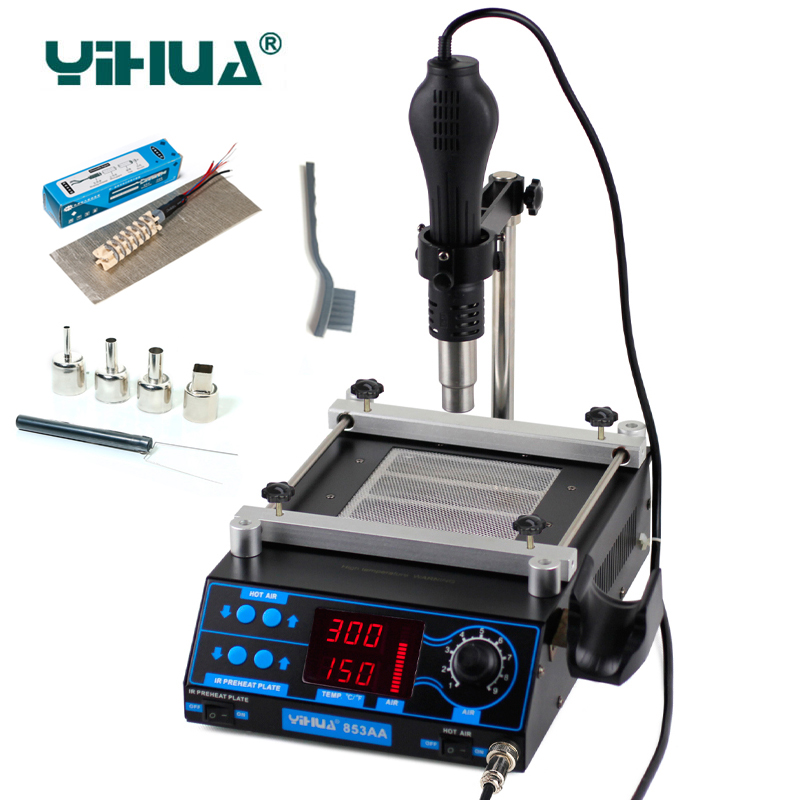 YIHUA 853AA Air soldering station LCD Adjustable Electronic Hot Air Gun PCB preheat and IR preheating station bga rework station f 204 mobile phone laptop bga rework reballing station hot air gun clamp