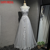 Silver Long Lace Evening Dresses Party A Line Beautiful Women Prom Formal Evening Gowns Dresses On
