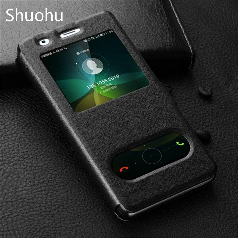 Shuohu Luxury PU Leather Flip Case For Huawei P9 lite Cases Huawei honor 5C 8 Case 5X 7 4C for Huawei P8 lite Cases Phone Window