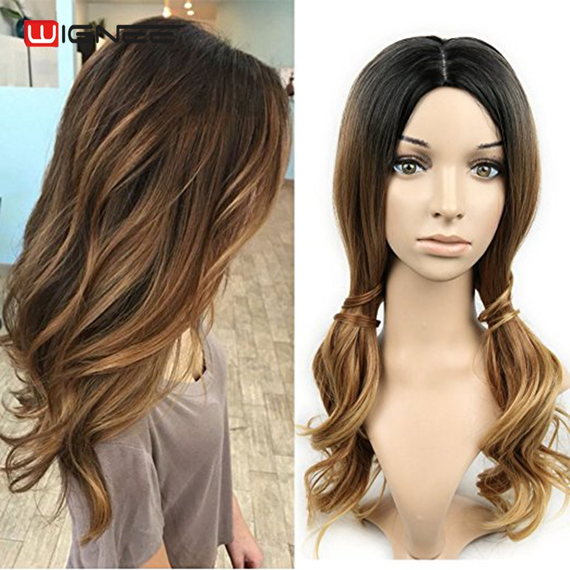 Wignee 3 Tone Ombre Women Wig Black to Brown Blonde Middle Part Heat Resistant Synthetic Wigs Cosplay Hair For African American