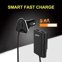 Estender Cabo USB Carregador de Carro 4 Portas USB, Carga rápida para iPhone X/8/7/6 s/Plus, Galaxy S8/S/Edge/Mais e mais