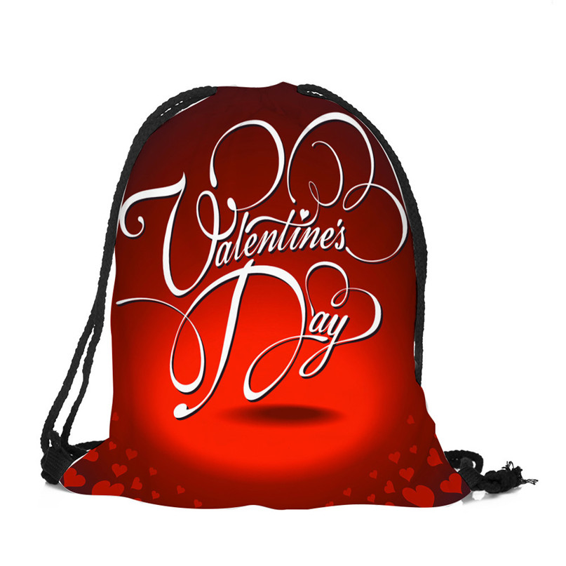 Outdoor Backpack Bags Christmas gift storage bag Valentine's Day Drawstring Bag Sack Sport Gym Travel pouch student bag #2a (5)