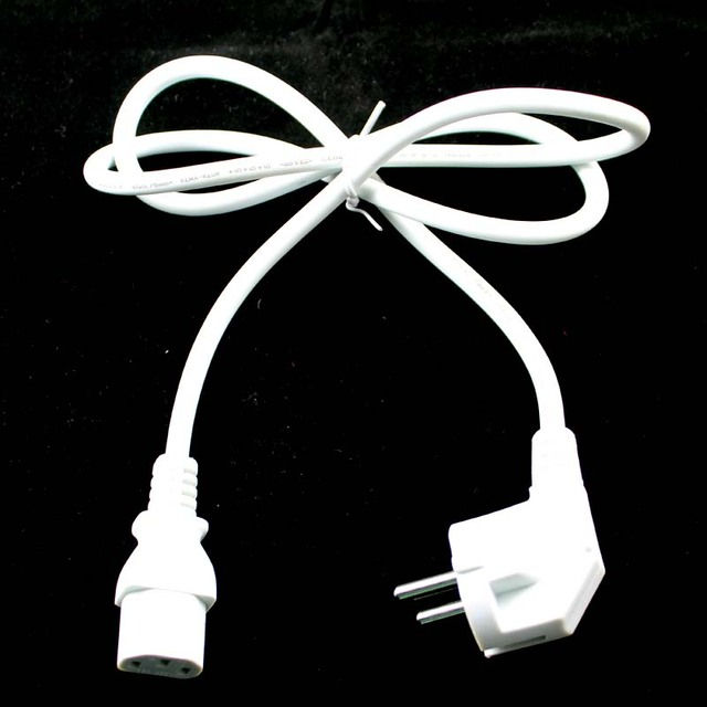 Wholesale EU Plug 1M White 3-Prong AC Power Supply Cable Adapter Cord AC Power Cord cable for laptop adapter lead Adapter