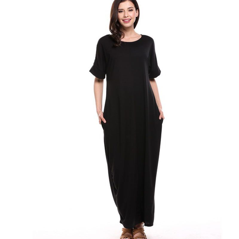 Women Boho Short Sleeve Summer Maxi Dress Color block Bohemian Casual Plus Size Dress Black Long Robe Femme Pull Vestidos QZS10