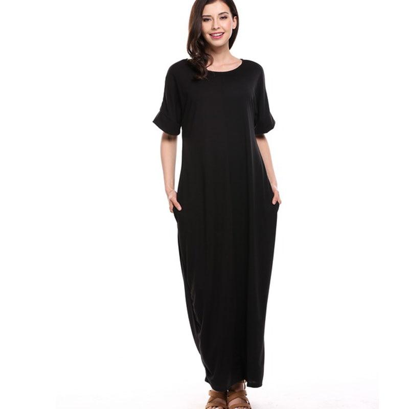 Women Boho Short Sleeve Summer Maxi Dress Color block Bohemian Casual Plus Size Dress Black Long Robe Femme Pull Vestidos QZS10