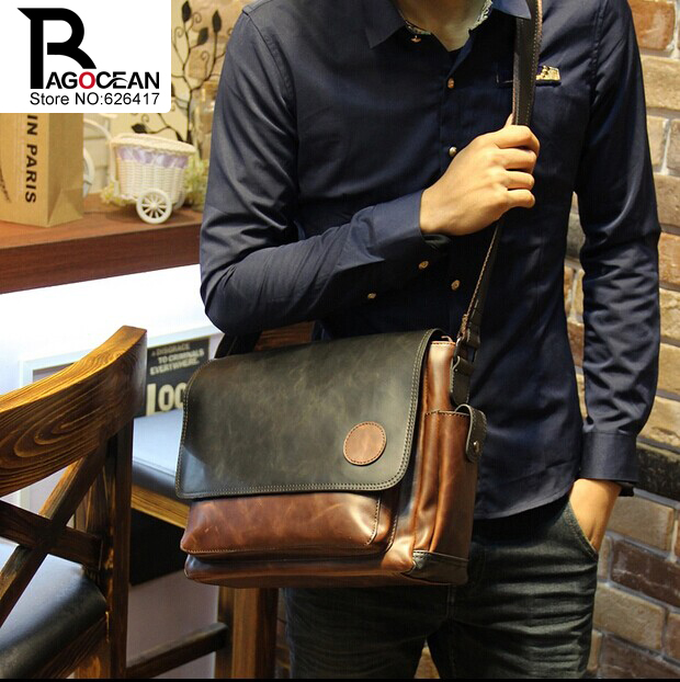 New Vintage Style Men Crazy Horse PU Leather Shoulder Travel Bags Cross Body Messenger Bags Students School Bag Casual Bags 20