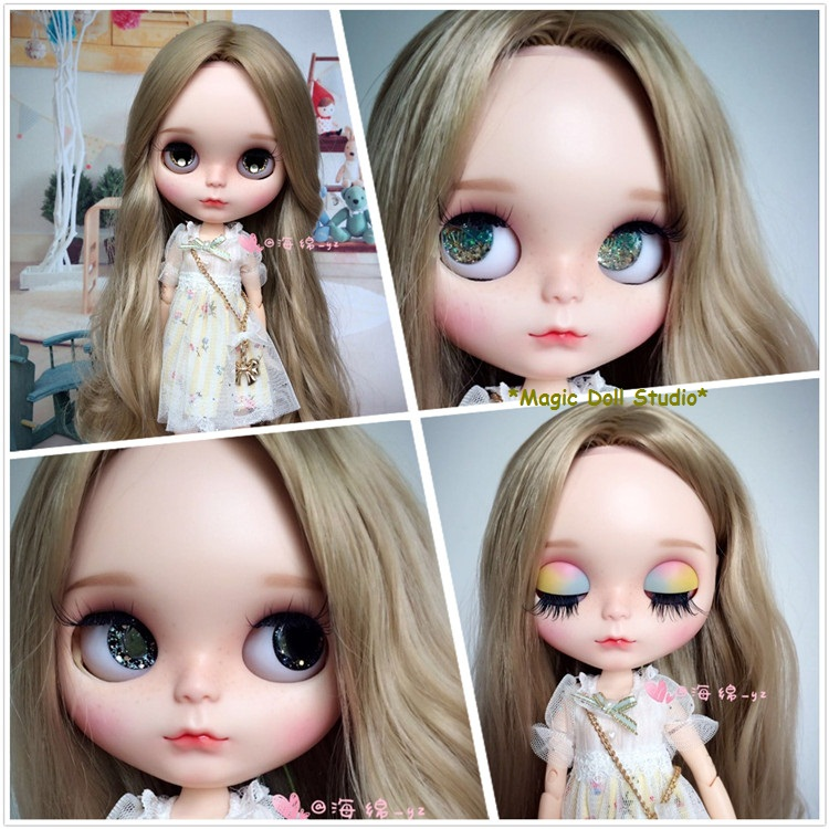 [NBL133]Free shipping Nude Blyth Doll with Pale Gold Long