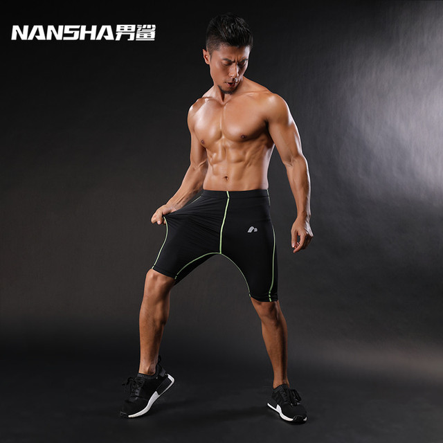 NANSHA Mens  Compression Shorts Line  Short Tights Skinny Bodybuilding Breathable MMA Man's Bottom Compressed Fitness shorts