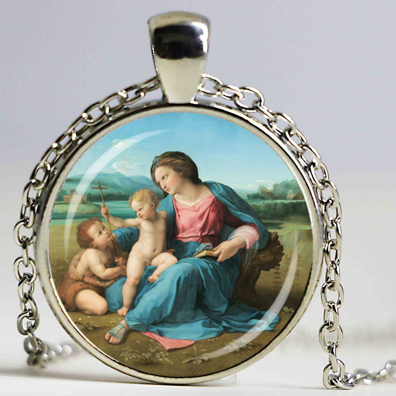BLESSED VIRGIN MARY Mother Jesus Catholic Religious Glass Tile Pendant Necklace!