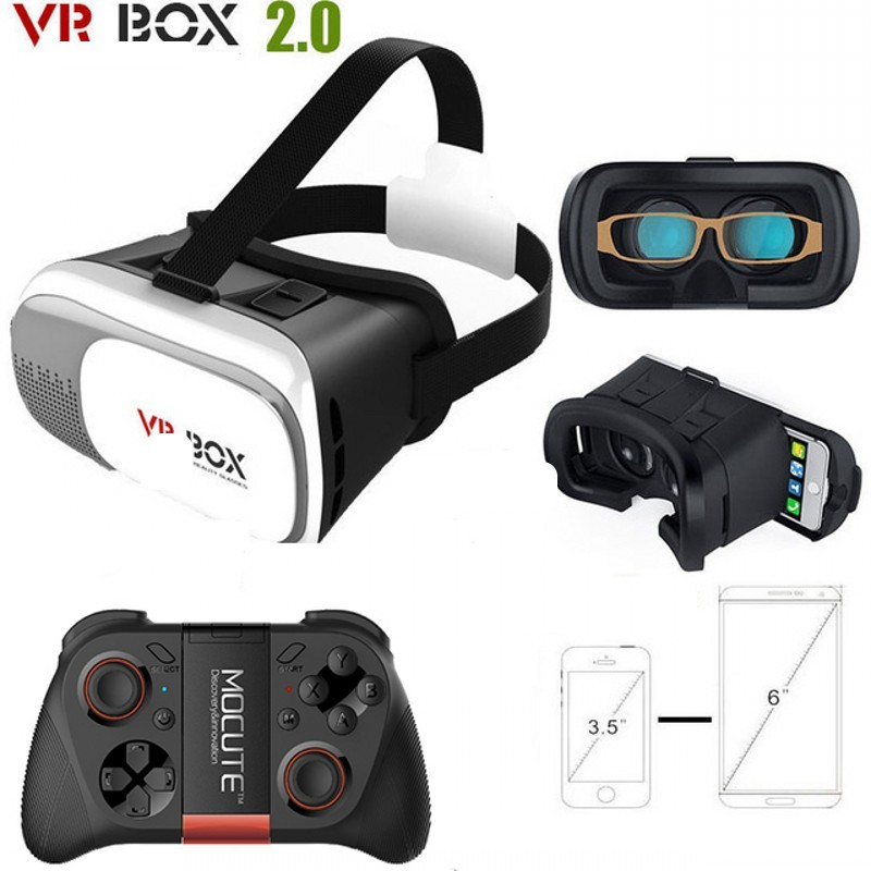 2016 Google cardboard VR BOX II 2.0 Version VR <font><b>Virtual</b></font> <font><b>Reality</b></font> 3D <font><b>Glasses</b></font> <font><b>For</b></font> 3.5 - <font><b>6.0</b></font> <font><b>inch</b></font> Smartphone+Bluetooth Controller <font><b>4.0</b></font>