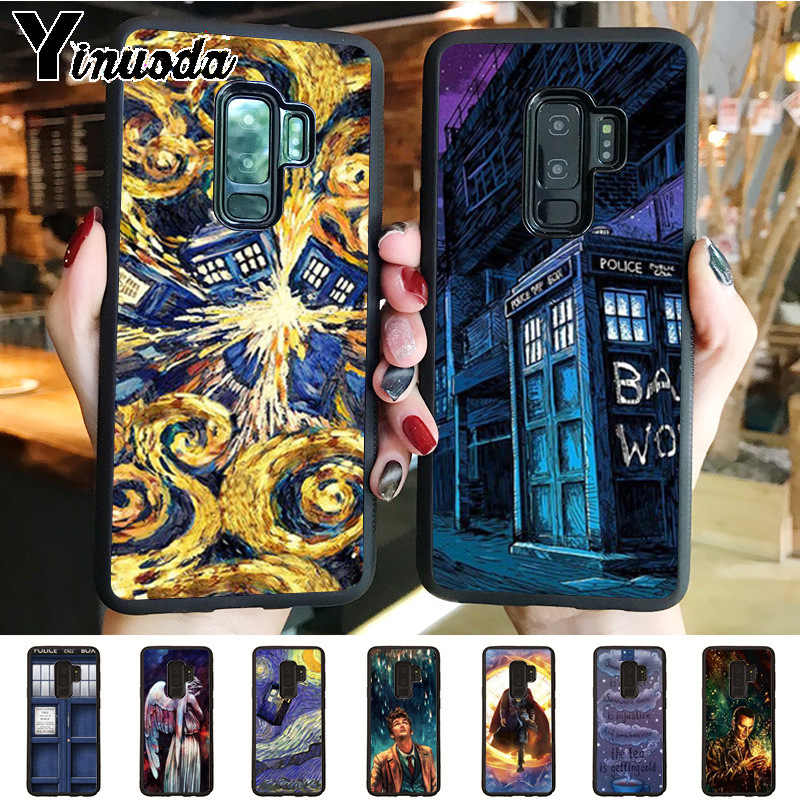 Yinuoda Tardis Box Doctor Who  balck silicone soft tpu Cell Phone Case for samsung galaxy note 8 s7edge s6 s8 s9 plus case coque