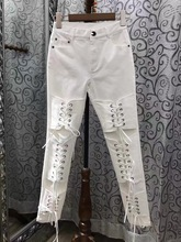 2017 Pantalones Mujer Hot Sale Pants Lulu Leggings 2017 Spring New Women's Fashion Personality Cross Straps Slim Pencil Female